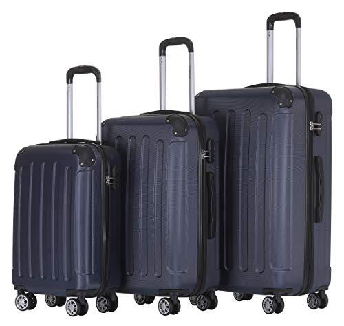BEIBYE Hartschalen-Koffer Trolley Rollkoffer Reisekoffer Handgepäck 4 Rollen (M-L-XL-Set) (Dunkelblau, Set)