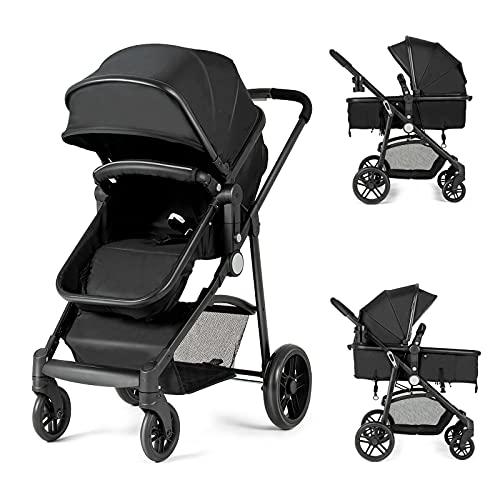 HONEY JOY Baby Stroller for Newborn, High Landscape Infant Stroller & Convertible Carriage Bassinet Pram, Adjustable Canopy, Cup Holder, Storage Basket, Folding Pushchair with Foot Cover (Black)