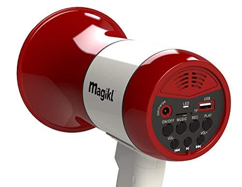 Magikl Mégaphone Porte Voix - Puissant et Léger - Sirène, Lecteur MP3 et Enregistreur - Batterie Rechargeable et Câble de Charge USB Inclus - Idéal Groupes, Soirées et Professionnels