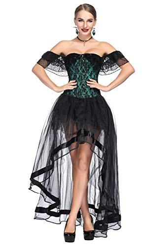 Zhitunemi Women Steampunk Corset Dress Medieval Peasant Chemise Costume Victorian Saloon Girl Dresses