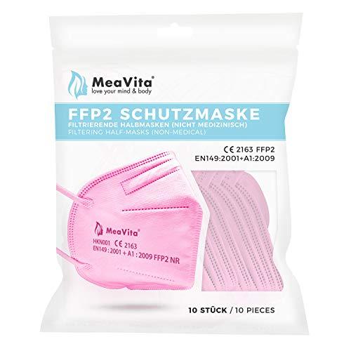 MeaVita FFP2 Maske rosa, EU CE Zertifizierte Mund- und Nasenschutz nach EN149:2001+A1:2009, Atemschutz hohe Filtration, Partikelfiltermaske, Gummizug 10er Pack