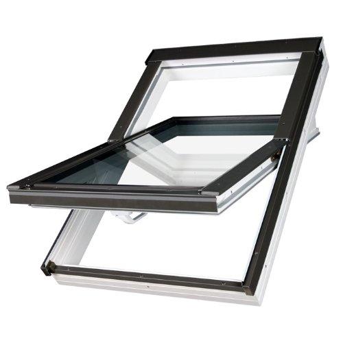 FAKRO Dachfenster Kunststoff PTP-V U3 mit Dauerlüftung und Eindeckrahmen (114 x 140)