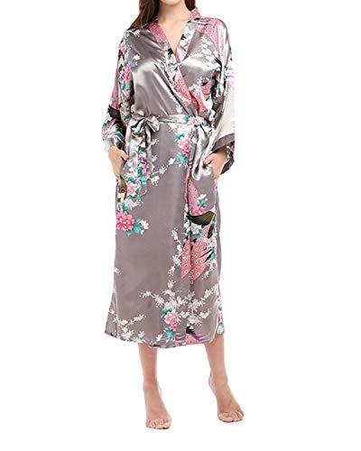SUNNYME Bata de franela para mujer, a rayas, corta, albornoces, esponjosa, kimono, ropa de dormir