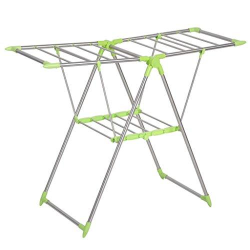 DERUKK-TY Toallero de acero inoxidable 304, plegable, retráctil, plegable, ropa de lavandería, portátil, fácil almacenamiento (color verde)