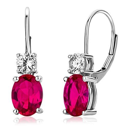 Miore Hängend Ohrringe Für Damen aus 925 Sterlingsilber mit Rubin und Zirkonia