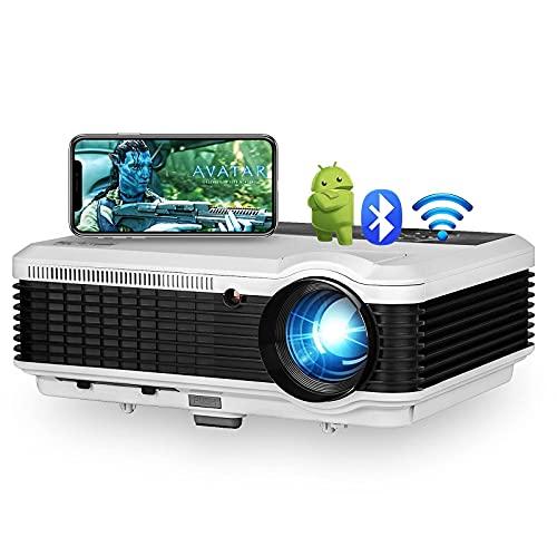 Soporte de proyector WiFi inalámbrico iOS Android Sync Screen Full HD Native 1080P Proyector Bluetooth Pantalla de 200'Proyector LED de películas caseras al Aire Libre para PC, DVD, TV, con
