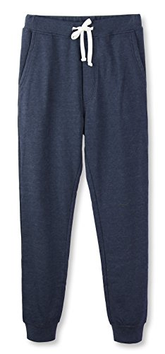 HETHCODE Mens Classic Fit Basic Fleece Closed-Bottom Pocketed Joggers Sweatpants Cadet Blue XL