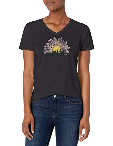 Life is Good Women's Crusher Graphic V-Neck T-Shirt, Watercolor Daisy, Jet Black, X-Large