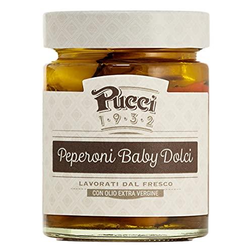 Pucci Peperoni Baby Dolci con Olio Extra Vergine di Oliva Conserva Condimento Pizze Crostini e Piatti di Carne- Vasetto da 200g