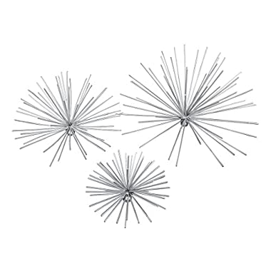 Zeckos Metal Wall Sculptures Set Of 3 Silver Finish Bursting Metal Star Wall Hangings 12 X 12 X 6.5 Inches Silver
