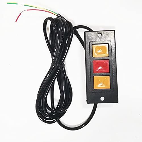 Interruptor de botón pulsador de 1 Pieza, Puerta Enrollable, Parada hacia Arriba y hacia Abajo, 3 Botones, Placa de botón de Carcasa de plástico Negro/Montaje Empotrado/Montaje Abierto momentáneo