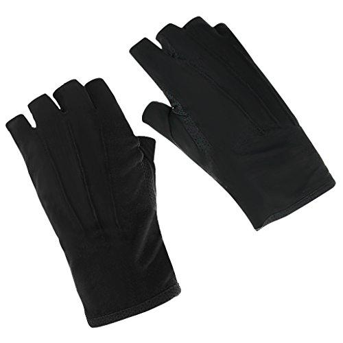 JIAHG Sommer Halbfinger Handschuhe Baumwolle Fahrradhandschuhe Kurz Spitzenhandschuhe Anti-Rutsch, Anti-UV Schutz, Dünn Sonnenschutz, Einheitsgröße, Schwarz A