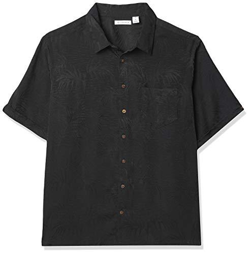 Cubavera Men's Big & Tall Subtle Floral Jacquard Shirt, Jet Black, 2X Large