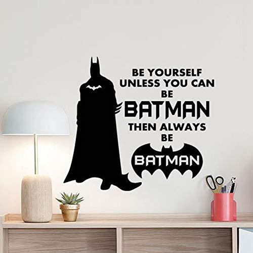 Seien Sie Sich selbst, es sei denn, Sie können EIN Fledermaus Held Wandaufkleber Held Poster für Kinderzimmer Dekoration Zitat Dekoration Aufkleber Kinderspielzimmer Wandbild 47x42cm Sein