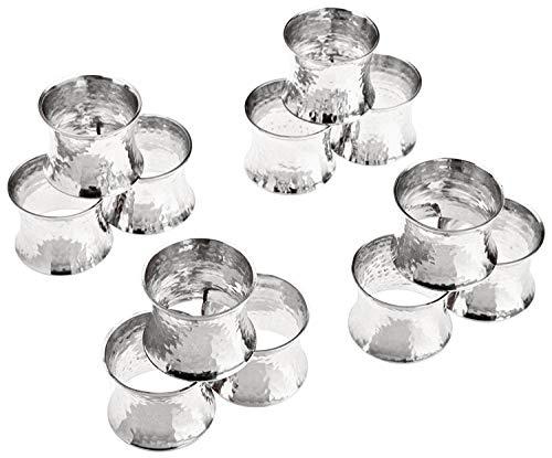 SKAVIJ Serviettenring-Set 12 Stück Metall Solide Gehämmert Handgemacht für Esstisch Dekoration (Silber)