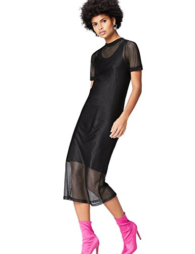 Marca Amazon - find. Vestido de Red para Mujer, Negro (Schwarz), 38, Label: S
