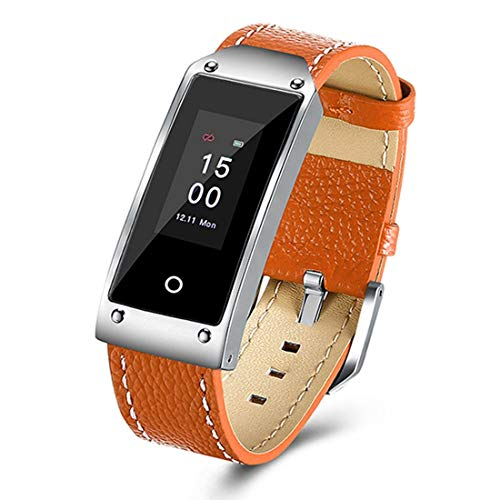 SHRAY Color Screen Bluetooth 4.0 Smart Bracelet Genuine Leather Strap for Android &iOS Phones, Support Heart Rate Monitor/Sleep Monitor/Information Reminder/Sedentary ReminderOrange