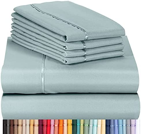 LuxClub 6 PC Sheet Set Bamboo Sheets Deep Pockets 18″ Eco Friendly Wrinkle Free Sheets Machine Washable Hotel Bedding Silky Soft – Light Teal Queen