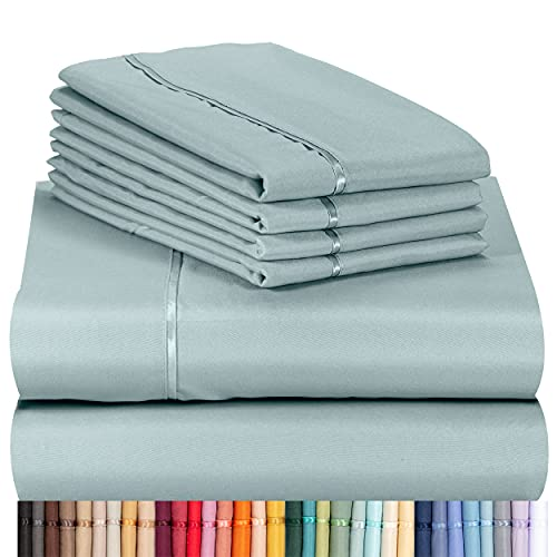 """LuxClub 6 PC Sheet Set Bamboo Sheets Deep Pockets 18"""" Eco Friendly Wrinkle Free Sheets Machine Washable Hotel Bedding Silky Soft - Light Teal Queen"""
