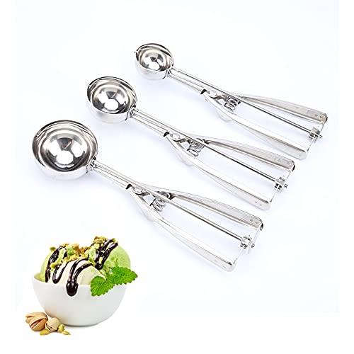 🍧 Más alta calidad: Las cuchara helado están hechas de acero inoxidable de alta calidad con una palanca de estructura sólida que no se romperá, rayará, corroerá, oxidará ni moldeará. Utilice la herramienta de cocina de calidad del chef para asegurars...