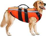 Etechydra Hundeschwimmweste, reflektierend, verstellbar, Rettungsweste für kleine, mittelgroße und große Hunde, Schwimmweste für Hunde, Orange, XL