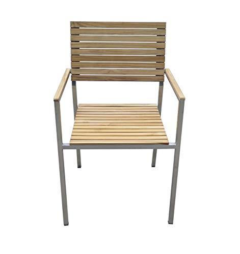 dynamic24 Multistore 2002 - Juego de mesa y sillas apilables (6 piezas, teca)
