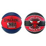 Spalding NBA Highlight Outdoor 83-573Z Balón de Baloncesto, Unisex, Azul Marino/Rojo/Blanco, 7 + NBA Team Chicago Bulls 83-503Z Balón de Baloncesto, Unisex, Multicolor, 7