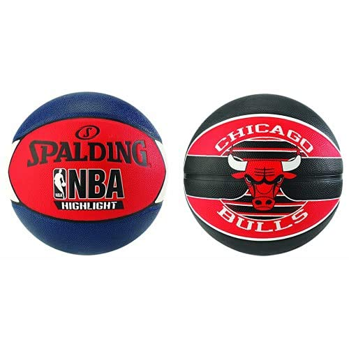 Spalding NBA Highlight Outdoor 83-573Z Balón de Baloncesto, Unisex, Azul Marino/Rojo/Blanco, 7 + NBA Team Chicago Bulls 83-503Z Balón de Baloncesto, Unisex, Multicolor, 7