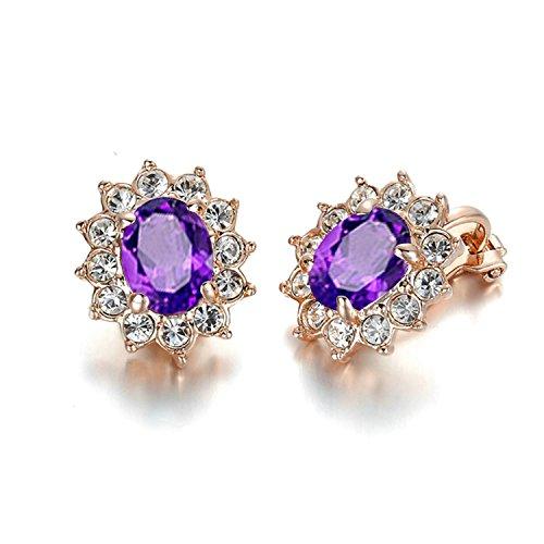 Yoursfs nozze Orecchini a clip per abito da sposa di cristallo ametista gioielli per Lady 18ct oro rosa placcato orecchini