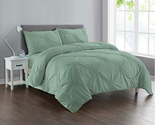 Divine Textiles Pintuck Sunflower Style Fancy Duvet Cover Set With Pillow Cases 10 Colours, Duck Egg - Double