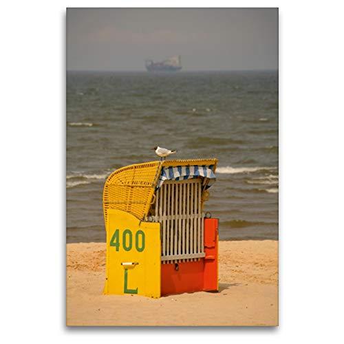 Premium Textil-Leinwand 80 x 120 cm Hoch-Format Strandkorb mit Möwe | Wandbild, HD-Bild auf Keilrahmen, Fertigbild auf hochwertigem Vlies, Leinwanddruck von Martina Berg