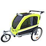 Booyah Large Pet Bike Trailer Dog Stroller & Jogger with Shocks Non Tipping. Green/Yellow