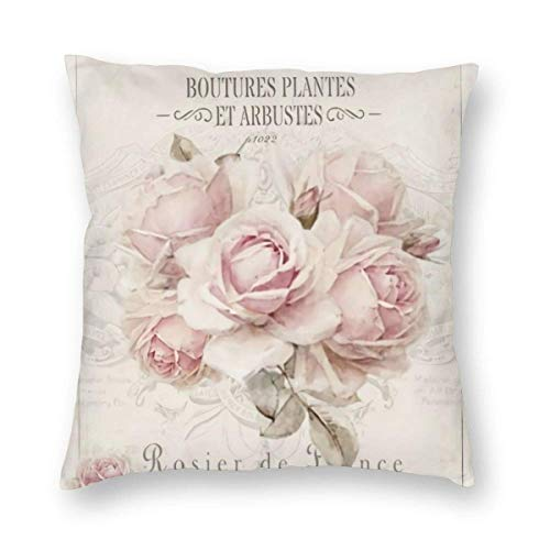 Funda de Almohada Decorativa Cuadrada Shabby Chic Francesa Cojín Vintage Shabby Chic Rosa Floral, Funda de Almohada Suave en Pulgadas 45x45cm