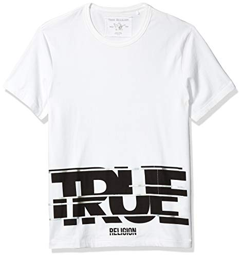 True Religion Herren SS Crew Neck Logo Elongated T-Shirt, Weiß (White 1700), Medium (Herstellergröße: M)