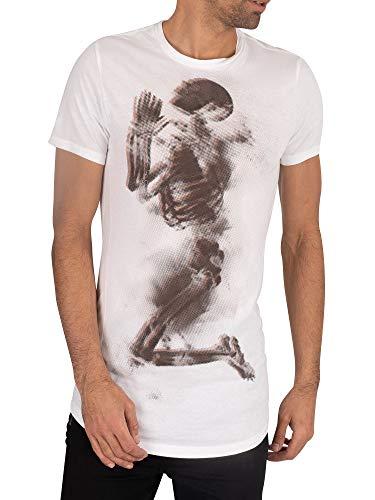 Religion de los Hombres Camiseta Esqueleto de semitono, Blanco, M