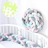 ACTENLY 220cm Baby 4 Weben Babybett Bettumrandung Nestchen Stoßstang Kantenschutz Kopfschutz für Kinderbett Bettumfang (Weiß+Grau+Grün+Rosa & 50 Stück Leuchtende Sterne Wandtattoo)