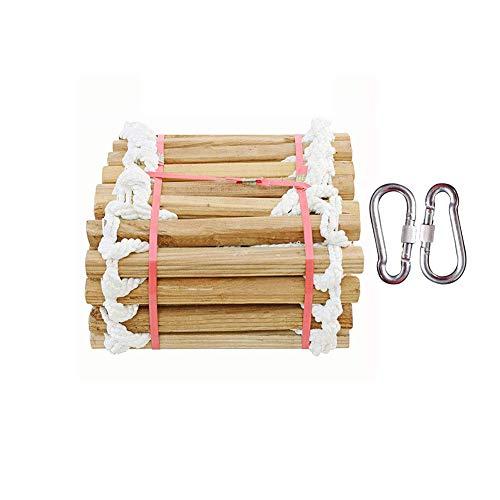 Escalera de cuerda de escape de madera, escalera de cuerda de rescate de rescate de emergencia de auto-rescate portátil durable,3m