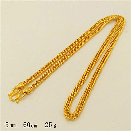Zhangmeiren Alluvialen Goldkette Goldkette Gold Galvanisierungstank Boss Herren-Kette 999 Gold-Shop Mit Dem Geld Nicht Verblassen (Color : A)