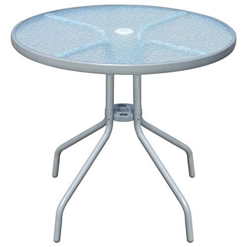 vidaXL Outdoor Table 80x71cm Steel Round Grey Glass Tabletop Garden Furniture