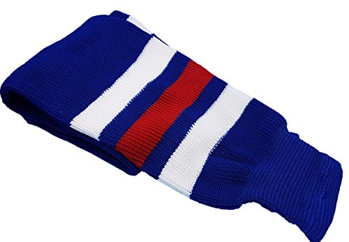 "Hockey Socks Knit Made in Canada for Hockey Players (Intermediate 28"", 11 Royal Blue w/White)"