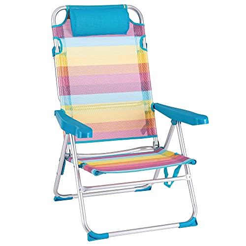 Silla Playa Fija de Aluminio y textileno Multicolor Rainbow - LOLAhome (61x56x100 cm)