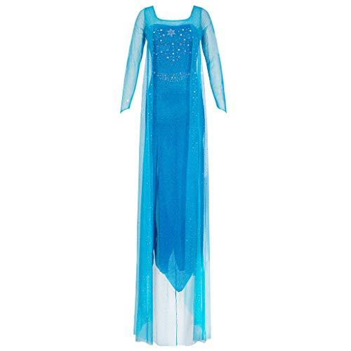 Katara 1768 - Damen Kostüm Prinzessin ELSA Kleid Frozen, Glitzerstoff Fasching Karneval Party, Größe XXL, Blau