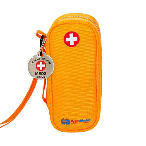 """PRACMEDIC EpiPen Medicine Case for Emergencies - Fashionable, Insulated, Orange, 8"""" - Storage Bag Holds 2 EpiPens, Auvi Q, Antihistamines and Medicine - Easy Access - with Tag"""
