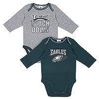 NFL Philadelphia Eagles Boys 2 Pack Long Sleeve BODYSUIT, Team Color, 18M
