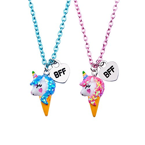 Skywisewin Unicorn Pendant Necklace for Children, Ice cream Unicorn Pendant Necklace for Kid's Best Friend Jewelry - 2 Pair