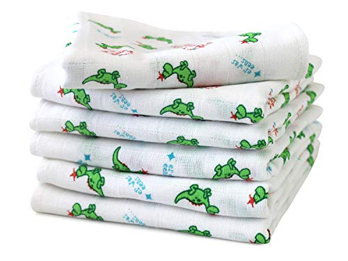 6er Pack zum Sparpreis - Mullwindel für Babys & Kleinkinder - bedruckt mit kleinen Drachen im Alloverdesign auf weißem Grund - Einheitsgröße ca. 70 x 70 cm - vielseitig verwendbar