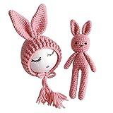 NUOBESTY Accesorios de Fotografía de Recién Nacido Sombreros de Conejo de Conejo de Punto con Muñeca de Conejo para Bebés Y Niñas (Rosa)