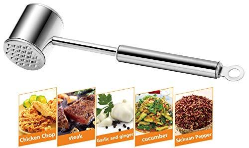 Feoguane Martillo ablandador de Carne - Herramienta para mazo de Carne - Robusto mazo de Carne de Acero Inoxidable para Ternera y Pollo - Ablandador de Carne Apto para lavavajillas