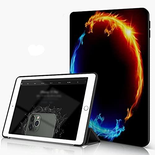 She Charm Carcasa para iPad 10.2 Inch, iPad Air 7.ª Generación,Ice Fire Dragon Blue Orange Dragons Formando un círculo,Incluye Soporte magnético y Funda para Dormir/Despertar
