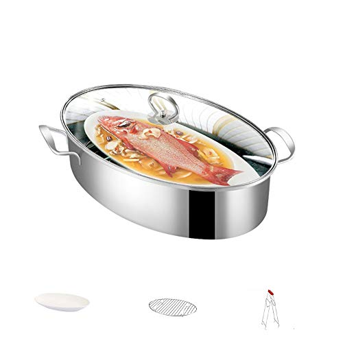 N / A Stainless Steel Fish Steamer, Multi-Use Oval Roasting Cookware, Pasta Pot/Stockpot, with Rack, for Steaming Fish, Boiling Soup, Roast Turkey